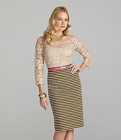 Cremieux Lacey Lace Blouse & Mindy Striped Pencil Skirt
