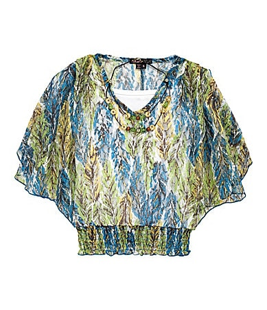 Takara 7-16 Printed V-Neck Blouse with Necklace