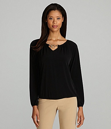 MICHAEL Michael Kors Toggle-Neck Peasant Top