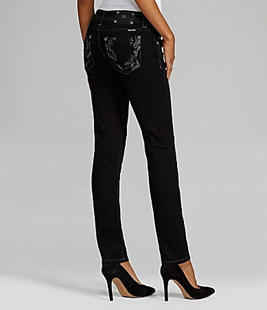 Miss Me Jeans Stone Border-Pocket Colored Skinny Jeans