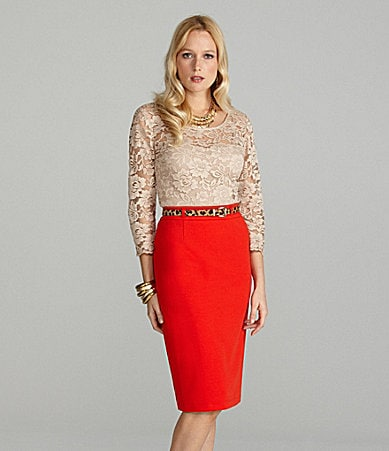 Cremieux Lacey Lace Blouse & Mindy Pencil Skirt