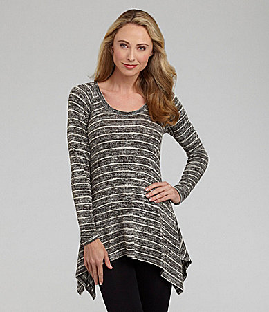 Nurture Metallic-Striped Hi-Low Hem Tunic Top