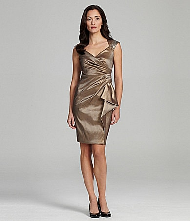 Maggy London Metallic Taffeta Dress