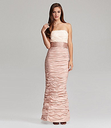 Cachet Strapless Ruched Sequin-Bodice Gown