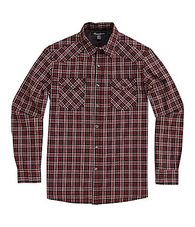 Kenneth Cole New York Western Plaid Print Woven Sportshirt