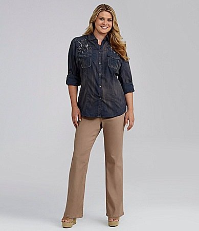 Reba Woman Roll-Tab Button-Front Shirt & Pull-On Kkaki Pants