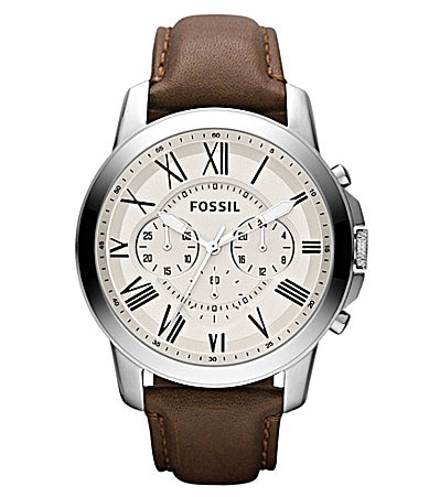 Fossil Grant Men's Leather Strap Dress Watch