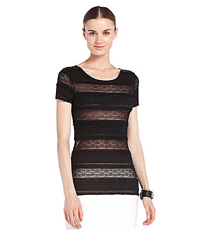 BCBGMAXAZRIA Short-Sleeve Lace Top