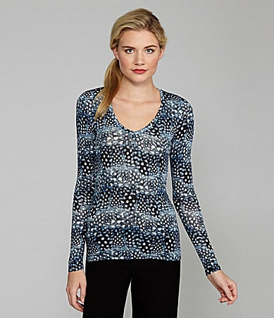 BCBGMAXAZRIA Jan Feather-Print Long-Sleeve Top