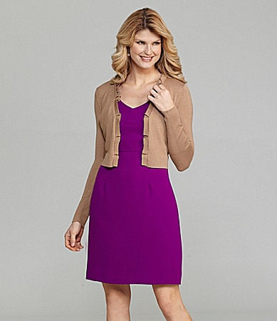Antonio Melani Long-Sleeve Open-Front Cardigan & Grace Sleeveless V-Neck Dress