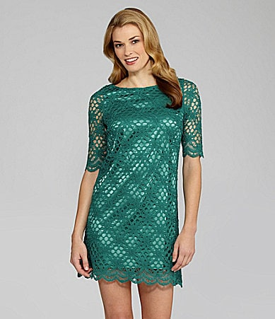 Jax Crochet-Overlay Shift Dress