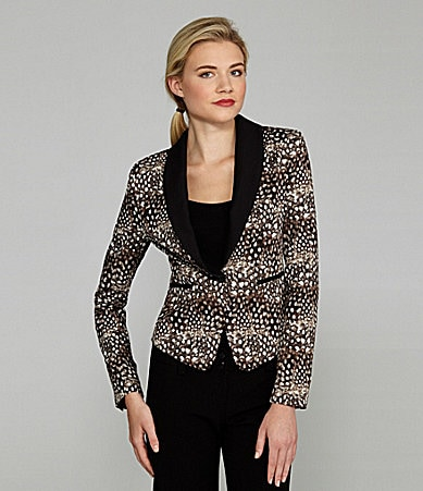 BCBGMAXAZRIA Bowie Feather-Print Tuxedo Jacket