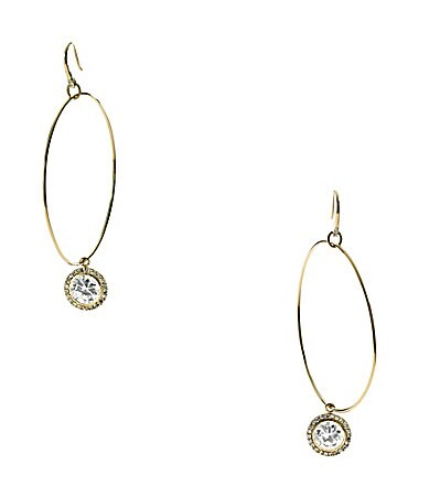 Michael Kors Goldtone Hoop Cubic Zirconia Drop Earrings