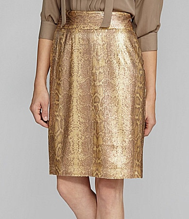 Antonio Melani Berta Snake-Print Sequin Pencil Skirt