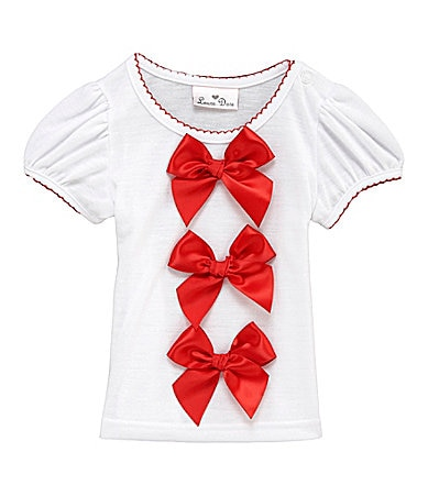 Laura Dare 2T-6X Puff -Sleeve Bow Top