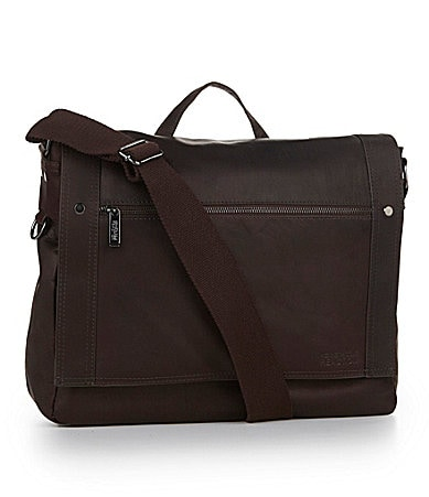 Kenneth Cole Reaction Brown Leather Flapover Messenger Bag