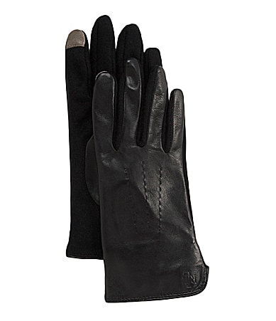 Lauren Ralph Lauren Cut And Sew Leather Tech Gloves