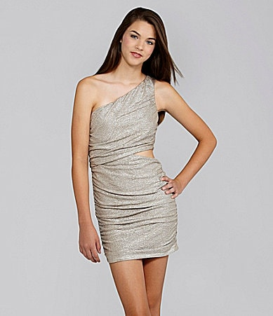 Extraordinary One-Shoulder Metallic Dress