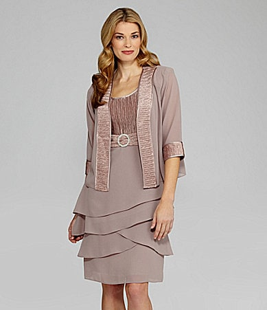 R & M Richards Short-Sleeve Pleated Jacket Dress