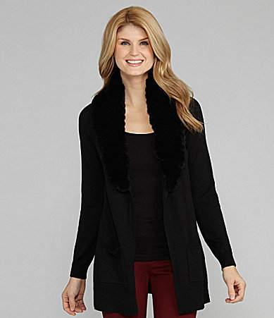 Antonio Melani Stacey Fur-Collar Cardigan