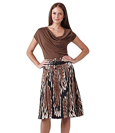 Adrianna Papell Cap-Sleeve Sweater & Belted Tribal-Print Skirt