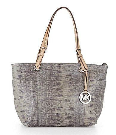 MICHAEL Michael Kors Jet Set Glazed Lizard Top-Zip Tote