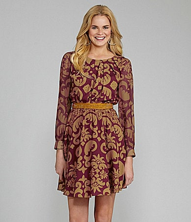 Cremieux Felicia Long-Sleeve Scroll-Print Dress