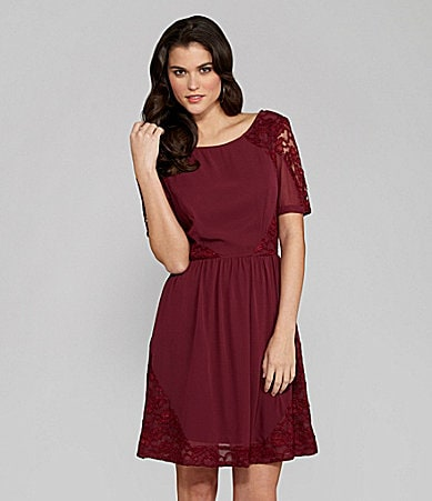 Gianni Bini Mia Georgette and Lace Dress