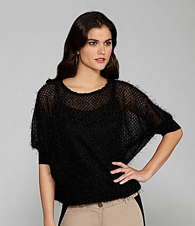 Gianni Bini Caryn Crewneck Eyelash Top
