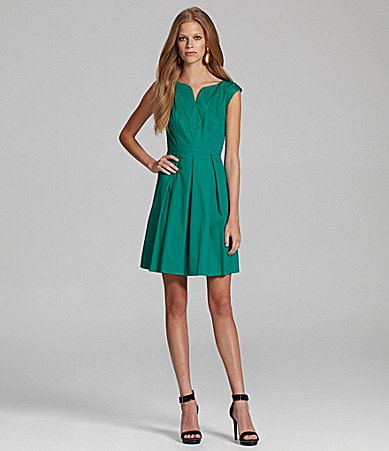 Jessica Simpson Cap-Sleeve Pleated Dress