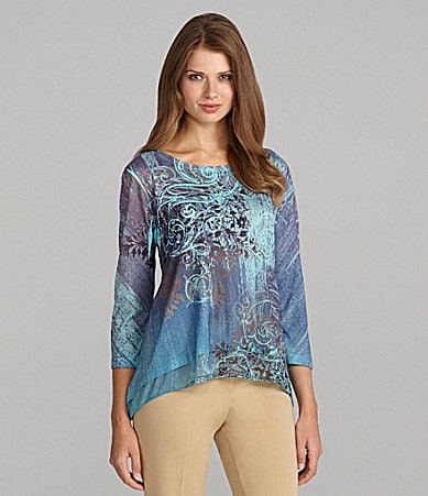 Westbound Petites Sharkbite Sublimation Top