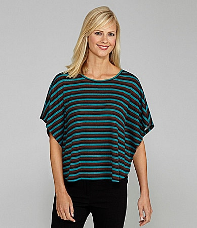 Westbound Woman Striped Poncho Top