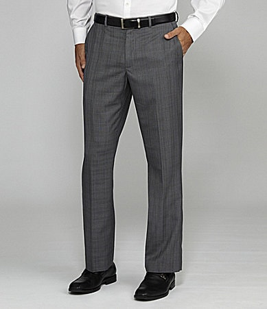 Perry Ellis Flat-Front Even Plaid Dress Pants