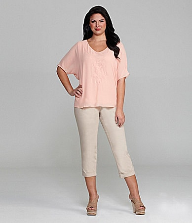 M.S.S.P. Woman Soutache V-Neck Blouse & Slim-Leg Cuffed Cropped Pants