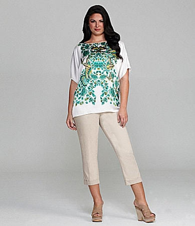 M.S.S.P. Woman Butterfly Wreath Print Blouse & Slim-Leg Cuffed Cropped Pants