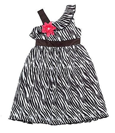 Rare Editions 7-16 Zebra-Print Dress