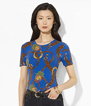 Lauren Ralph Lauren Short-Sleeve Printed Crewneck Top