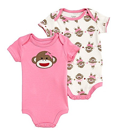Baby Starters Newborn Sock Monkey Bodysuits 2-Pack