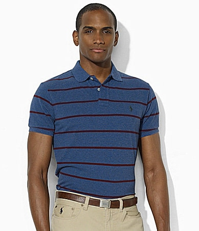 Polo Ralph Lauren Classic-Fit Short-Sleeved Striped Heather Cotton Mesh Polo Shirt