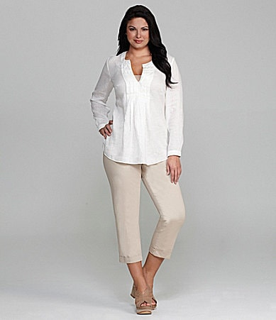 M.S.S.P. Woman Linen Long-Sleeve Tunic & Slim-Leg Cuffed Cropped Pants