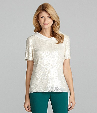 Antonio Melani Deanna Short-Sleeve Sequin Top