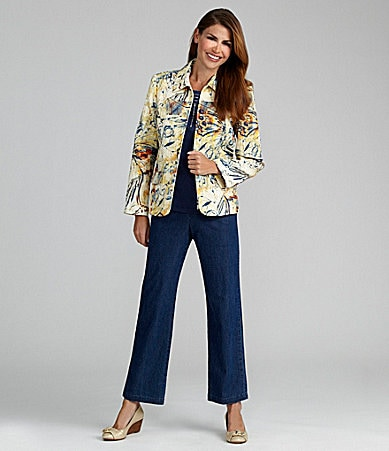 Samantha Grey Butterfly-Print Jacket, Embellished Knit Top & Flat-Front Pants