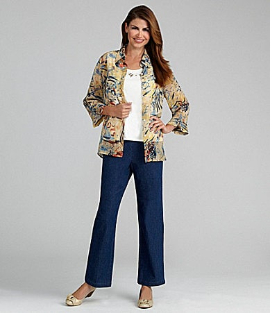 Samantha Grey Woven Butterfly Print Shirt & Flat-Front Pants