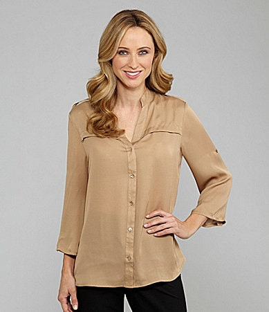 Investments Button-Front Blouse