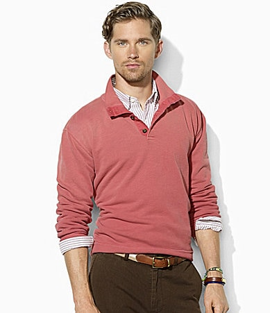 Polo Ralph Lauren Long-Sleeve Buttoned Fleece Mockneck Pullover