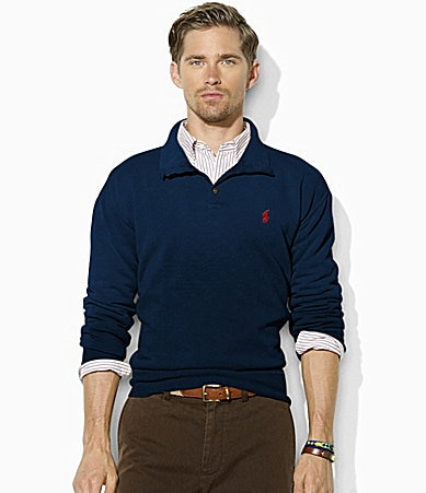 Polo Ralph Lauren Long-Sleeved Buttoned Fleece Mockneck Pullover