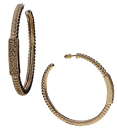 Jessica Simpson Pave Twist Hoop Earrings