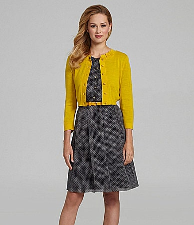 Antonio Melani Ella Cardigan & Cecile Belted Cube-Print Dress