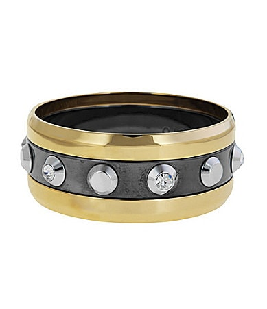 Vince Camuto Tri-Tone Studded Bangle Bracelet