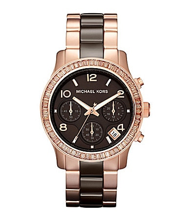 Michael Kors Ladies Runway Rose Goldtone & Espresso Watch